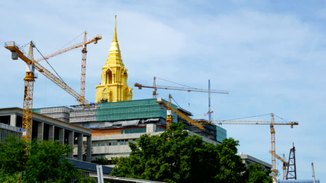 construction cranes are working on the new parliament in thailand. - prime minister stock videos & royalty-free footage