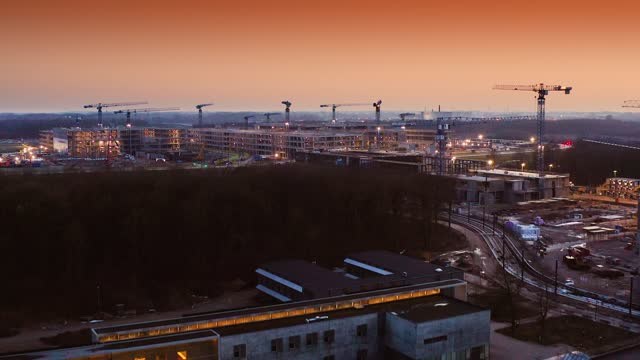 construction cranes in horizon - denmark stock videos & royalty-free footage