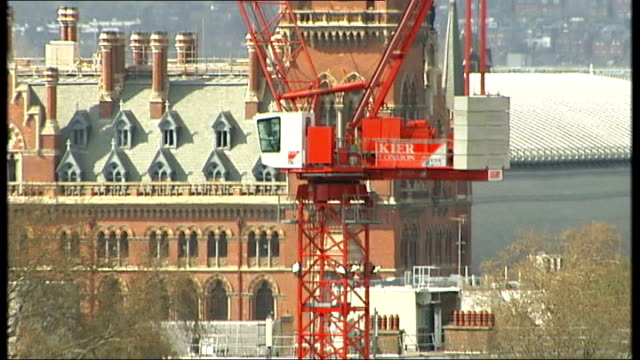 Construction firms accused of pricerigging London Cranes on construction site St Pancras Station in distance Simon Williams interview SOT Worker...