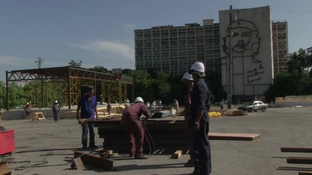 stockvideo's en b-roll-footage met construction has started on the altar where pope francis will deliver mass during a landmark visit to cuba next month - altaar