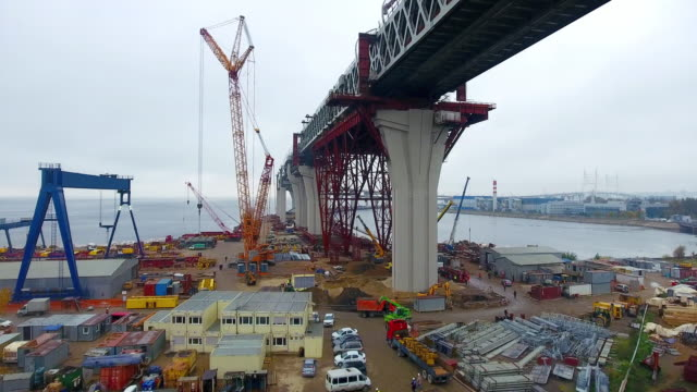 construction in progress of a mass rapid transit line - ponte video stock e b–roll