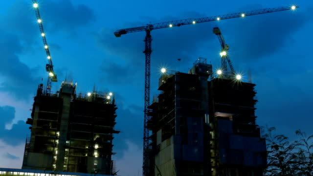 Construction of buildings Timelapse at Twilight.