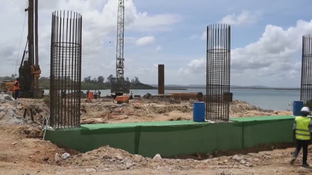 construction of chinese-built makupa bridge in kenya's mombasa well underway on september 16 in nairobi, kenya. construction of the makupa causeway... - bridge built structure stock videos & royalty-free footage