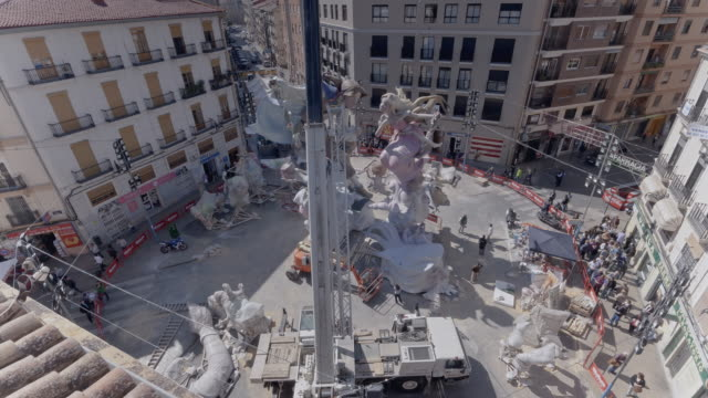 construction of falla monument in valencia - time lapse - monument stock videos & royalty-free footage
