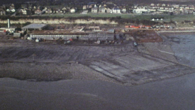 1969 montage construction of the hoverport at pegwell bay / ramsgate, kent, england - ramsgate video stock e b–roll