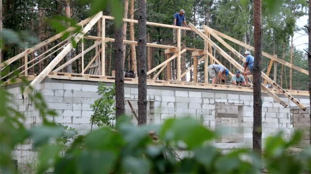 stockvideo's en b-roll-footage met constructie van het dak. dakdekkers werken op het dak. - naaldboom