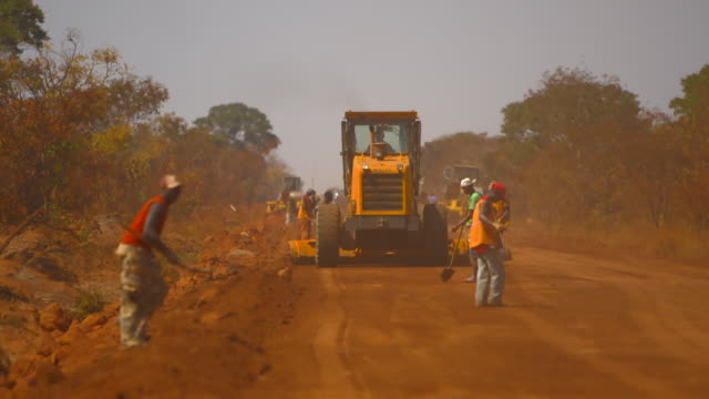 Construction on dirt road in Angola