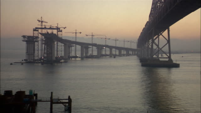 construction on the eastern span of the san francisco-oakland bay bridge / san francisco - oakland california stock videos & royalty-free footage