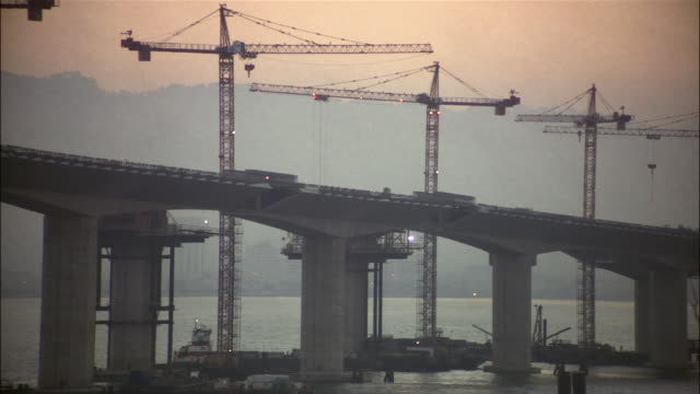 construction on the eastern span of the san francisco-oakland bay bridge / san francisco - san francisco oakland bay bridge stock videos and b-roll footage