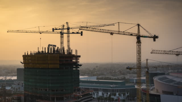 Construction Projects at Edge of Downtown Los Angeles - Time Lapse