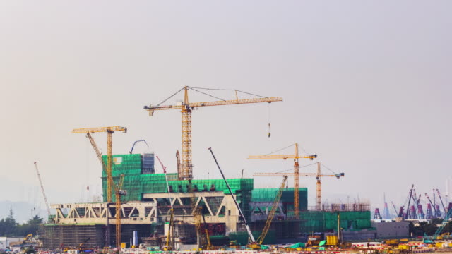 4K TIME LAPSE  :construction site at Hong Kong.