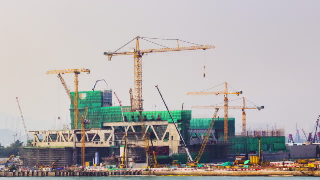 4K TIME LAPSE (4096x2160) :construction site at Hong Kong.panning styles.