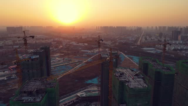 construction site at sunrise aerial view - tall high stock videos & royalty-free footage