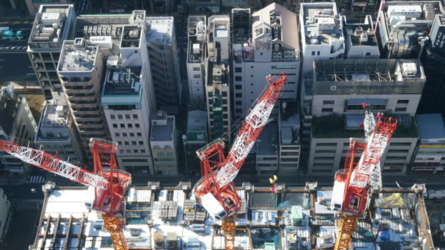 construction site at tokyo japan - hanging gallows stock videos & royalty-free footage