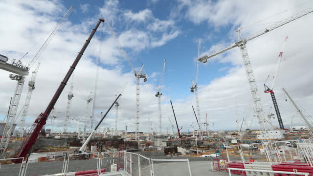 construction site for hinkley point c nuclear power station, operated by electricite de france , near bridgwater, u.k., on thursday, sept. 12, 2019. - nuclear power station stock videos & royalty-free footage