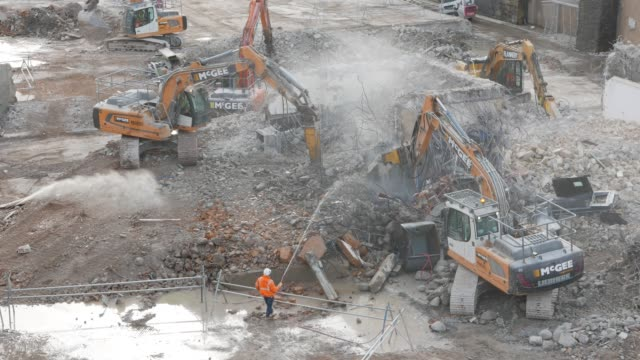 construction site, high viewpoint - zement stock-videos und b-roll-filmmaterial