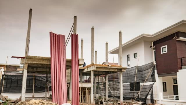 Construction site home building , time-lapse , 4k(UHD)