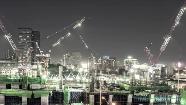 Construction Site in city,Panning shot Time lapse