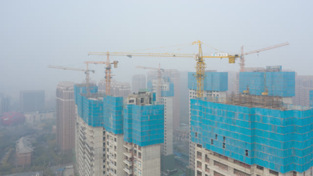 construction site in foggy weather - commercial sign stock videos & royalty-free footage