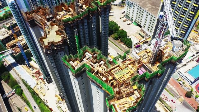 vídeos de stock e filmes b-roll de construction site in hong kong - bambu material