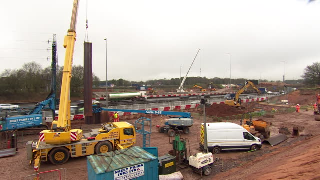 hs2 construction site in solihull - crane stock videos & royalty-free footage