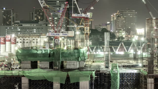 Construction Site in the big city,Panning shot Time lapse
