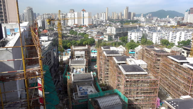 construction site in wuxi city center - wuxi stock videos and b-roll footage