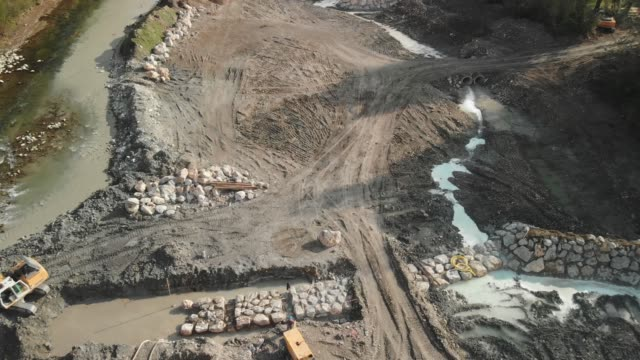 construction site of new dam by the river side - crane construction machinery stock videos & royalty-free footage