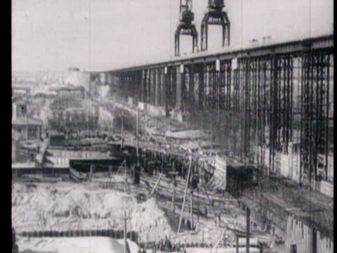 construction site of volga-don canal and building site of tsimlyanskaya power station on don river / russia, audio - anno 1951 video stock e b–roll
