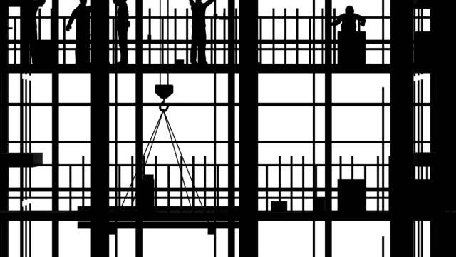 Construction site scenes aginst white background