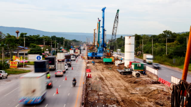 construction site time lapse 4k - roadworks stock videos & royalty-free footage