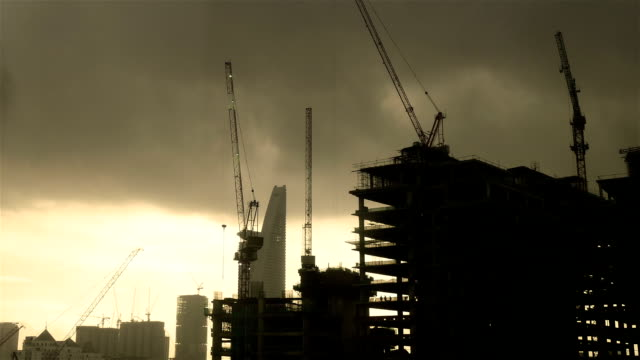 construction site time lapse at dusk - full hd format stock videos & royalty-free footage
