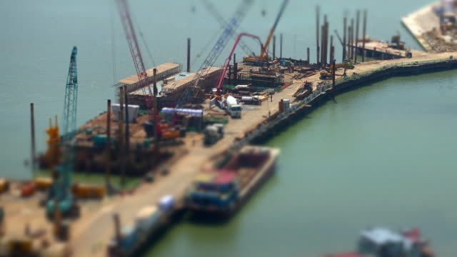 Construction Site Time Lapse with Selective Focus