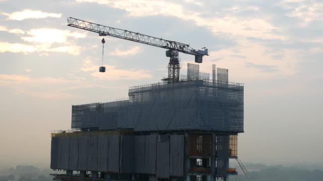 Construction site using crane