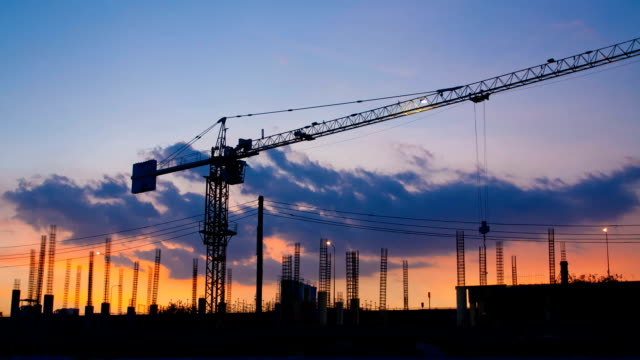 construction site - crane construction machinery stock videos & royalty-free footage