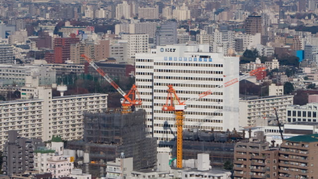 T/L WS HA Construction site with cranes, Shinjuku, Tokyo, Japan