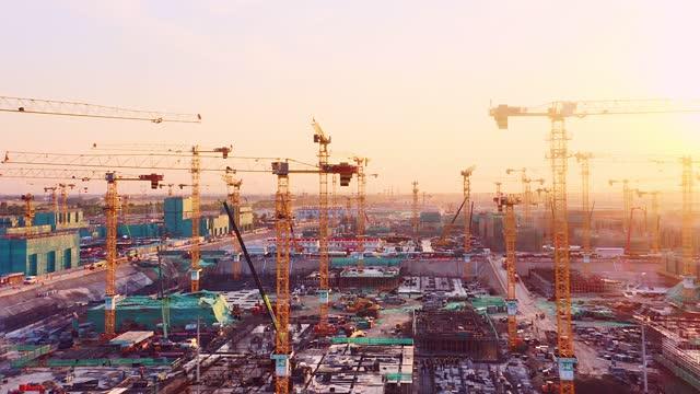 cantiere con tramonto a xiong'an nuova area - pechino video stock e b–roll