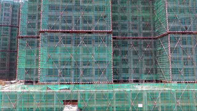 construction sites with green net protected