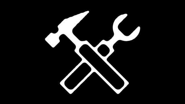 construction tools & fixing blackboard line animation with alpha - addetto alla manutenzione video stock e b–roll