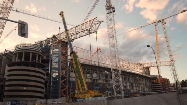construction work for real madrid's redeveloped 570 million euro santiago bernabeu stadium is seen on october 13, 2020 in madrid, spain. real madrid... - rebuilding stock videos & royalty-free footage