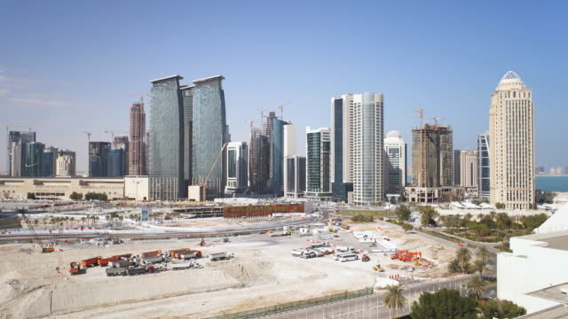 ws t/l  construction work  going on of buildings   / doha, qatar - qatar stock videos & royalty-free footage
