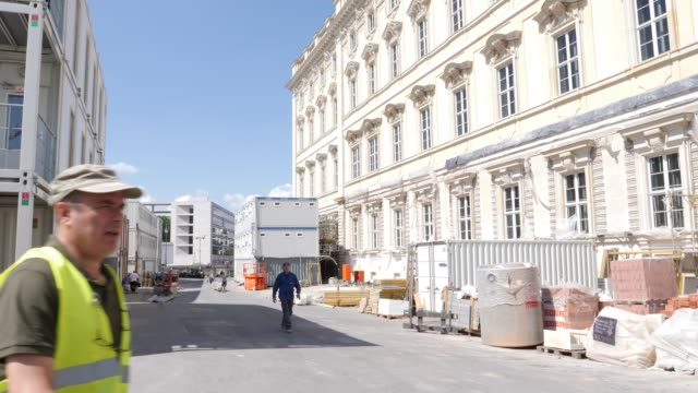 construction work in front of the reconstructed baroque facade of the humboldt forum stands on june 17, 2019 in berlin, germany. the humboldt forum... - rebuilding stock videos & royalty-free footage