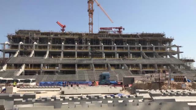 construction work is ongoing at the lusail stadium in qatar which will be the host venue in four years time the first ever world cup finals game to... - golfstaaten stock-videos und b-roll-filmmaterial