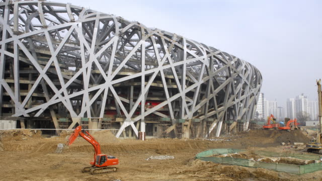 construction work on beijing national stadium, beijing, china - bird's nest stock videos & royalty-free footage