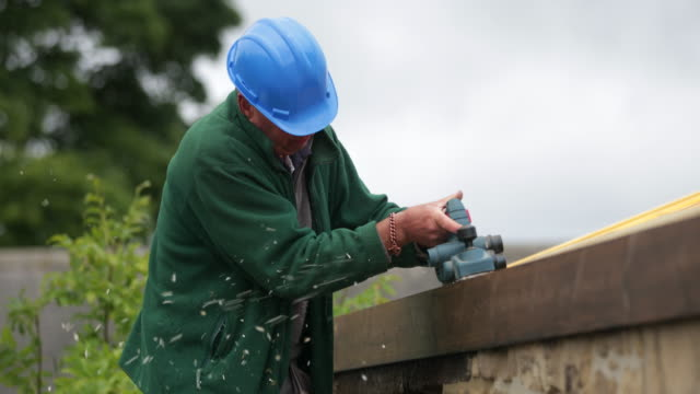 construction worker sanding wood - sander stock videos & royalty-free footage