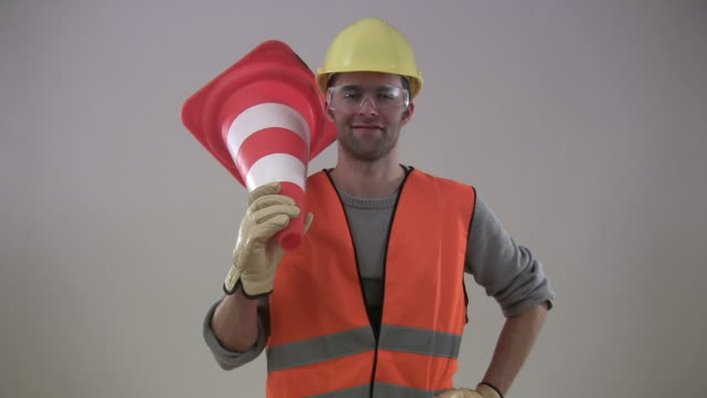 construction worker thumbs up - traffic cone stock videos & royalty-free footage