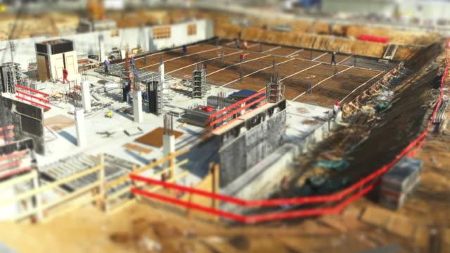 T/L Construction Workers On Site (Tilt Shift Effect)
