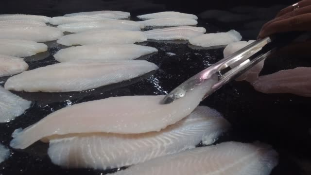 consumer picking pangasius fish at the seafood market - bucket stock videos & royalty-free footage