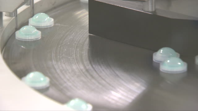 Contact lens being made at a manufacturing factory