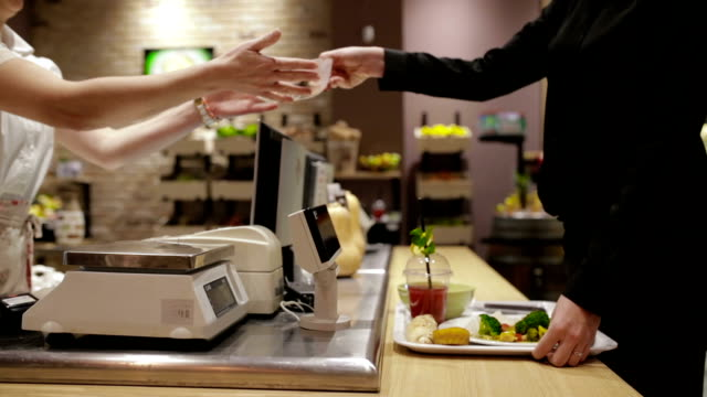 contactless payment of lunch in cafeteria, handheld shot - tray stock videos and b-roll footage
